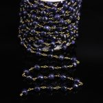 8mm Faceted Blue Goldstone Round beads Rosary Chain,Gems Stone beads Link Brass Wire Wrapped Chain Bracelet <b>Necklace</b> Making