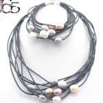 Selling Jewelry>>Gift Boxed Or Bag Packed! 100% Multi-strand Leather Cord Natural Pearl Necklace Bracelet Jewelry Set 17″ 8″