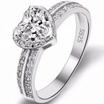 BELLA Fashion 925 Sterling Silver Heart Bridal Ring Clear Cubic Zircon <b>Wedding</b> Ring For Party <b>Jewelry</b> Thanksgiving Day Gift