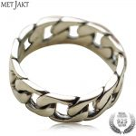 MetJakt S925 Sterling Silver Love Ring & Vintage Thai Silver <b>Handmade</b> Rings for Man and Women Fine <b>Jewelry</b>