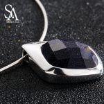 SA SILVERAGE 925 <b>Sterling</b> <b>Silver</b> Choker Necklace Black Aventurine Chocker Necklaces Fine <b>Jewelry</b> For Women 12.58g/45mm*30mm