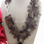 Beautiful! Smoky crystal&onyx Pendant <b>Necklace</b>