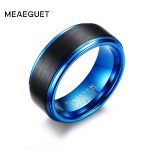 Meaeguet 8MM Wide Black/Blue Tungsten Carbide Wedding Bands For Men Trendy Matte Finished Rings <b>Jewelry</b> USA Size
