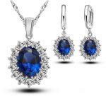 JEXXI Bridal Wedding <b>Jewelry</b> Sets Women Crystal 925 Sterling Silver Blue Cubic Zircon Engagment Earrings Pendant <b>Necklace</b> Set