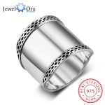 Solid 925 Sterling Silver Female Rings 20mm Wide Rings Simple Style Rings Wedding Accessories <b>Jewelry</b> (JewelOra RI102783)