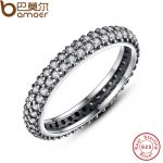 BAMOER 100% 925 Sterling Silver Inspiration Within Stackable Ring Clear CZ Crystal Luxury <b>Jewelry</b> Gift PA7128