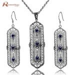 Pure 925 <b>Silver</b> Sterling Jewelry Set Dark Blue Stone Cubic Zirconia Vintage Women <b>Earring</b> Pendant Handmade Party Jewelry Sets