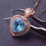 natural blue topaz pendant S925 <b>silver</b> Natural gemstone Pendant Necklace trendy heart Elegant crown women girl party <b>jewelry</b>
