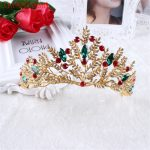 XIAONIANSHI New Baroque Style Gold Red Green Crystal Bridal Tiara Wedding Crown Alloy Queen Princess Tiara <b>Jewelry</b> accessories