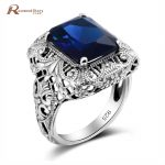 Gorgeous <b>Handmade</b> Charm Square Cut Created Sapphire Stone Ring Real 925 Sterling Sliver <b>Jewelry</b> Big Cocktail Ring Women Wedding
