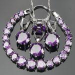 Wedding Purple Zirconia Women Bridal Jewelry Sets Costume <b>Silver</b> 925 Jewelry <b>Bracelets</b> Stone Earrings Necklace Ring Set Gift Box