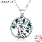 INBEAUT 100% 925 Sterling Silver Green&White CZ Zircon Life Tree Pendant Necklace for Women <b>Wedding</b> Gift Fine <b>Jewelry</b> Teen Girls