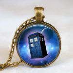 <b>Antique</b> Cooper Vintage Necklace Doctor Who Moon Space Pendant Necklace Doctor Who Police Box Tardis <b>Jewelry</b>, Whovian Gift Idea