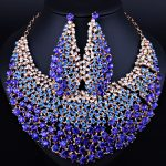 Elegant <b>Wedding</b> <b>Jewelry</b> Full Color Crystal Rhinestones Necklace Earrings for Women African <b>Jewelry</b> sets