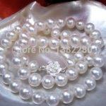 8-9mm White pearl necklace flower button 18inch women fashion <b>jewelry</b> <b>making</b> design gfit wholesale