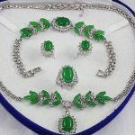 Prett Lovely Women's Wedding <b>Jewelry</b> green gem white Necklace Bracelet Earring Ring 5.27 -silver-<b>jewelry</b> silver-<b>jewelry</b> brinco