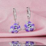 RainMarch Enamel Flower Engagement Earrings Silver For Women 100% 925 Sterling Silver Earring <b>Handmade</b> Enamel Party <b>Jewelry</b>