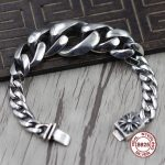 S925Men's <b>bracelet</b> in Sterling <b>Silver</b> Personality trend domineering cross gradient ring Punk style retro classic Send a gift