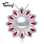 FENASY 925 sterling <b>silver</b> pendants natural Pearl <b>necklace</b> , Ruby beryl jewelry charm party <b>necklace</b> women pendant for lovers