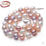 SNH Natural Freshwater Pearl <b>Necklace</b> Mixed Color Real Pearl <b>Necklace</b> with Sterling <b>Silver</b> Clasp