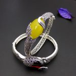 FNJ Natural Yelllow Stone Bangle peacock MARCASITE 925 <b>Sterling</b> <b>Silver</b> Oval Red Stone S925 Thai <b>Silver</b> Bangles for Women <b>Jewelry</b>