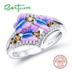 SANTUZZA Silver Ring For Women 925 Sterling Silver Fairy tale Butterfly Rings Cubic Zirconia Ring Party <b>Jewelry</b> Enamel <b>HANDMADE</b>