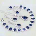 Gourd 925 Silver <b>Jewelry</b> Blue Stones White Zircon <b>Jewelry</b> Sets For Women Adjustable Open Ring/Earring/Pendant/<b>Necklace</b>/Bracelet