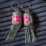 <b>Handmade</b> silver earrings are embroidered Miao folk style retro Tassel Earrings <b>Jewelry</b> high-end Miaoxiu embroide