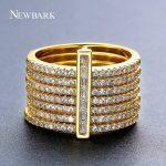 NEWBARK New One Stacking Ring Set Including 7Pcs Round Rings Nondetachable Inlaid CZ Stone Classic <b>Fashion</b> Women <b>Jewelry</b>