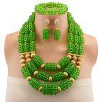 <b>Handmade</b> Braid <b>Jewelry</b> sets Green Fashion Statement Necklace for women Nigeria bridal wedding African beads <b>jewelry</b> set
