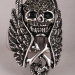 Skull wings cross snake stretch ring for women biker gothic <b>jewelry</b> <b>antique</b> silver color W crystal dropshipping wholesale