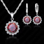 Giemi Pretty Wholesale Price Wedding <b>Jewelry</b> Set 925 Sterling <b>Silver</b> Cubic Zircon Necklace Pendant/Earrings Fashion Women Set
