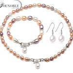 Beautiful real natural necklace and <b>earring</b> sets women bracelet,colorful 925 <b>silver</b> bridal jewelry sets pearl anniversary