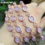 KJJEAXCMY Fine jewelry Simple 925 Sterling <b>Silver</b> wrapping Stone <b>Bracelet</b> no drill style Hibiscus Pink Chalcedony wholesale fema