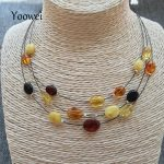 Yoowei Women Amber <b>Necklace</b> Baltic Oval Shape Genuine Stone 3 Layers Amber Beads Jewelry for Mom/Mama Gift Best Gems Wholesale