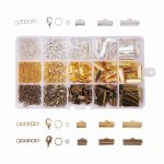 420Pcs/Box <b>Jewelry</b> <b>Making</b> Finding Kits of Ribbon Ends Lobster Claw Clasps Jump Rings Cord Ends with Twist Extender Chains In