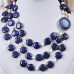 Hot sale 3Rows White Akoya Cultured Pearl & Genuine Coin Lapis Lazuli Jewelry Natural stone <b>Necklace</b>