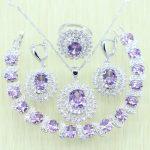 Flower White zircon Purple Crystal <b>Jewelry</b> Set Silver color For Women 925 Logo Bracelets/<b>Necklace</b>/Earrings/Ring/Pendants