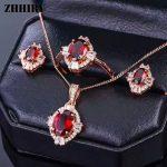 ZHHIRY Real Garnet 925 Standard <b>Silver</b> <b>Jewelry</b> Sets Ring Earring Necklace Fine Red Gemstone Wedding Party Jewelery Set