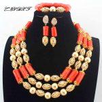 African wedding coral beads Necklace Nigerian <b>Handmade</b> <b>Jewelry</b> Sets statement Necklace women fashion <b>Jewelry</b> set L1252