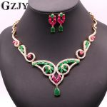 GZJY Luxury pendientes Gold Color Green&Red Zircon Nacklace Earrings Set For Women Wedding indian <b>Jewelry</b> boucle d'oreille