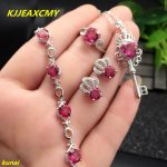 KJJEAXCMY boutique jewels 925 <b>silver</b> inlay natural pink topaz ring pendant <b>earrings</b> bracelet 4 suit jewelry necklace sent