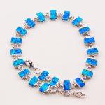 Free Shipping White Fire Opal 925 Sterling <b>Silver</b> <b>Bracelet</b> 7.5″+0.5″ P86