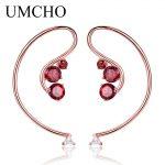 UMCHO Natural Red Garnet 925 <b>Sterling</b> <b>Silver</b> Drop Earrings Female Classic Rose Gold Planted For Women Fashion Gift Fine <b>Jewelry</b>