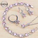 Costume Bridal Jewelry Sets Pink Cubic Zirconia Women Wedding Jewelry Rings <b>Bracelet</b> Necklace Earrings Stone Set Gift Box
