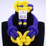 New Royal Blue Yellow <b>Handmade</b> Beads For Women <b>Jewelry</b> Set African Wedding Fashion <b>Jewelry</b> Statement Necklace Set Free Shipping