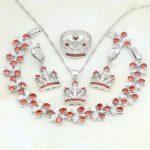 925 Sterling Silver <b>Jewelry</b> Red Garnet White CZ Costume <b>Jewelry</b> Sets For Women Party <b>Necklace</b>/Earrings/Bracelet/Pendant/Ring