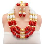 Splendid 2017 New Arrival White Red <b>Handmade</b> Crystal Costume Necklaces Sets Nigerian Wedding African Beads <b>Jewelry</b> Sets