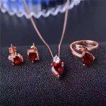 925 <b>silver</b> inlaid Changle Garnet Ring Necklace Pendant <b>Earrings</b> Set