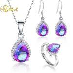 ZHIXI Topaz <b>Earrings</b> Pendant Necklace Jewelry Sets 925 Sterling <b>Silver</b> Water Drop Gemstone Fine Jewelry Gift For Women [T236]